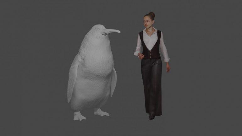 pingüino de tamaño humano