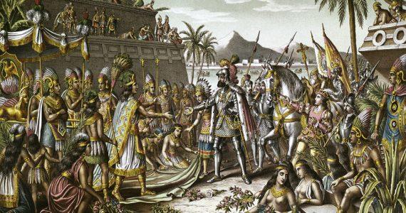Moctezuma y Hernán Cortés