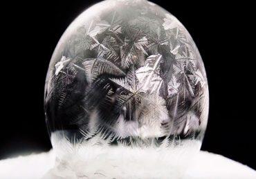 burbujas de jabón congeladas