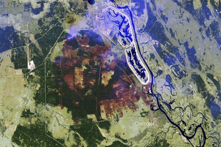 incendio Chernóbil espacio