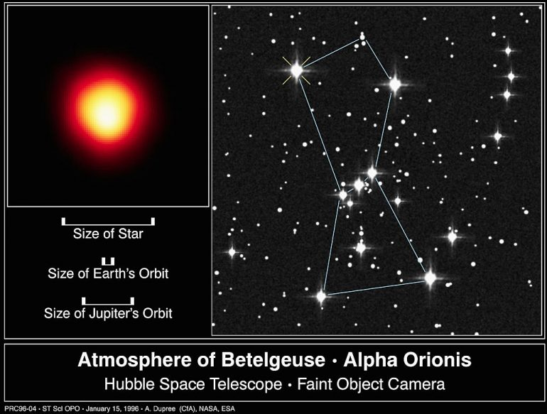 Betelgeuse recupera brillo Hubble Orion Estrella