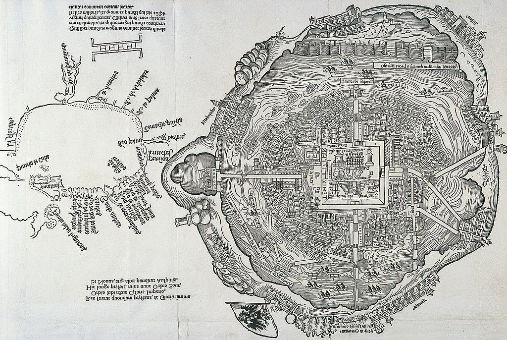 mapa de Tenochtitlán, ciudad mexica
