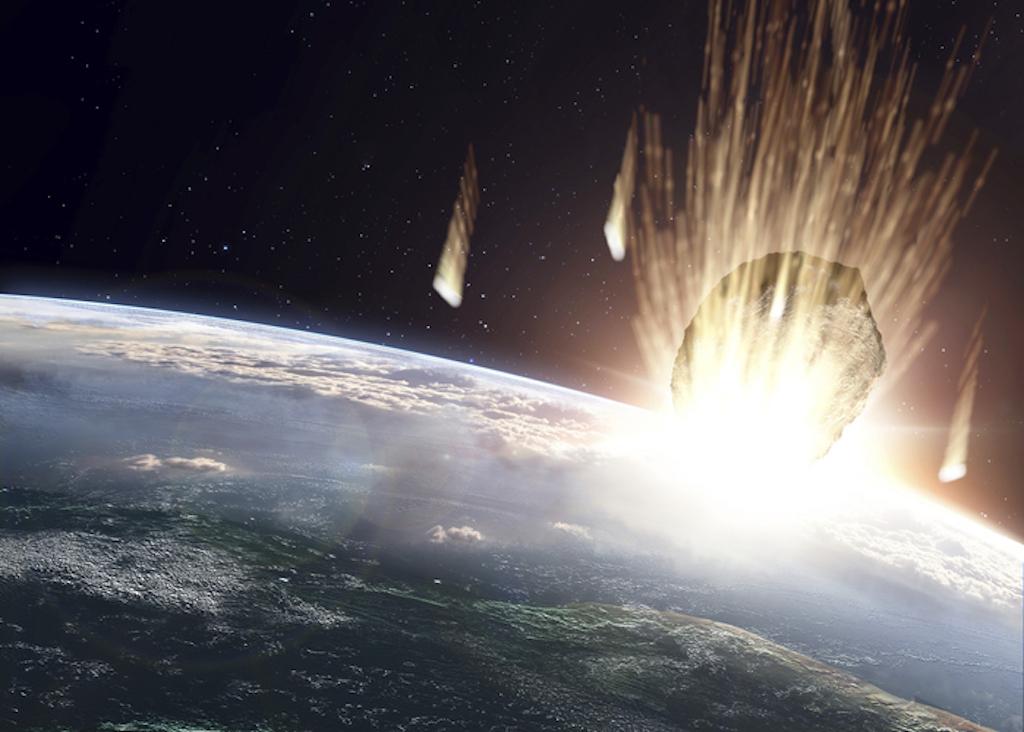 meteorito choca con la tierra planeta