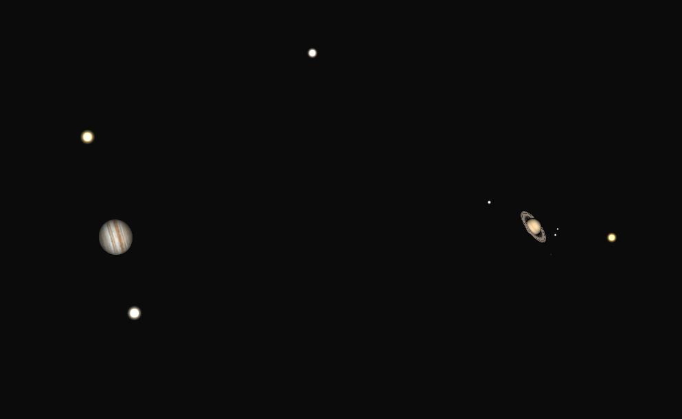 jupiter y saturno telescopio